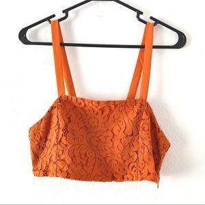 Zara orange crop top size M tank top shirt lace